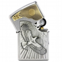 Zippo Chrom gebürstet Eagle Sun Fly Emblem